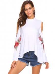 964eb425541 White Women O Neck Cold Shoulder Flare Long Sleeve Floral Embroidery Loose  Blouse Tops