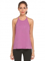 Purple Women Cut Out Solid Racerback Gym Sports Running Yoga Tops
