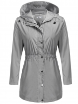 Gray Women Lightweight Hooded Raincoat Outdoor Active Slim Light Waterproof Jacket