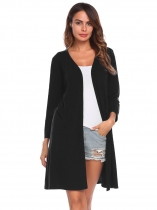 Black Women Casual Long Sleeve Solid Open Front Cardigan
