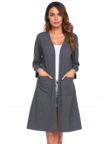 Dark gray Women Casual Long Sleeve Solid Open Front Cardigan