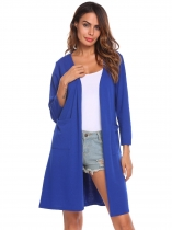 Navy blue Women Casual Long Sleeve Solid Open Front Cardigan
