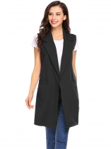 Black Women Fashion Open Front Long Sleeveless Blazer Vest Waistcoat