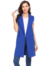 Blue Women Fashion Open Front Long Sleeveless Blazer Vest Waistcoat