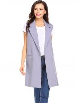 Gray Women Fashion Open Front Long Sleeveless Blazer Vest Waistcoat