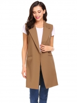 Khaki Women Fashion Open Front Long Sleeveless Blazer Vest Waistcoat