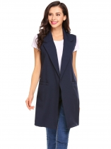 Navy blue Women Fashion Open Front Long Sleeveless Blazer Vest Waistcoat