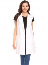 White Women Fashion Open Front Long Sleeveless Blazer Vest Waistcoat