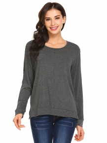 54b3b07cc4 Grey Women Fashion Loose O-Neck Long Sleeve Solid T-Shirt