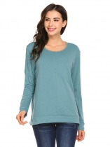 Green Women Fashion Loose O-Neck Long Sleeve Solid T-Shirt