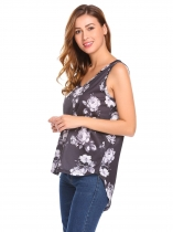 Black Women Summer V-Neck Sleeveless High Low Floral Print Casual Tank Tops