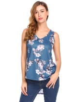 Blue Women Summer V-Neck Sleeveless High Low Floral Print Casual Tank Tops