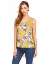 Yellow Women Summer V-Neck Sleeveless High Low Floral Print Casual Tank Tops
