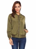 Army green Women Lightweight Reversible Stand Collar Zip Up Camouflage Casual Bomber Jacket