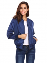 Navy blue Women Lightweight Reversible Stand Collar Zip Up Camouflage Casual Bomber Jacket