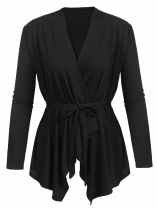 Black Women Long Sleeve Open Front Solid Irregular Casual Cardigan w/ Belt