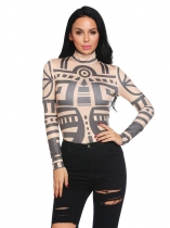 Khaki Women Turtleneck Long Sleeve Geometric Slim Fit Casual T-Shirt Top