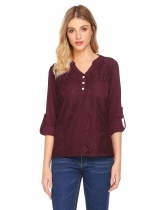 Dark red Women Notch Neck Roll Up Sleeve Asymmetrical Loose Lace Chiffon Blouse Top