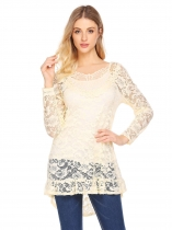 Beige Women V-Neck Long Sleeve See Through Lace Asymmetrical Ruffles Blouse Top