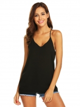 Black Women V-Neck Chiffon Spaghetti Strap Cami Keyhole Blouse Top
