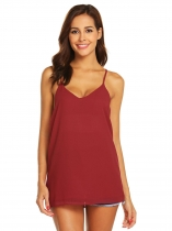 Wine red Women V-Neck Chiffon Spaghetti Strap Cami Keyhole Blouse Top