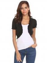 Black Women Casual Short Puff Sleeve Open Front Shirring Bolero Shrug Jackets