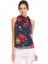 Navy-blau Frauen Blumendruck Sleeveless Lace Up Strap geraffte Rüschen Chiffon Tank Top