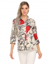 White Women Casual Shirt Collar 3/4 Sleeve Floral Button