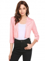 Pink Women Casual Front Open 3/4 Sleeve Solid Short Sexy Regular Fit Cardigan