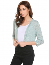 Blue green Women Casual Front Open 3/4 Sleeve Solid Short Sexy Regular Fit Cardigan