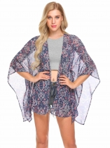 Blue Women 3/4 Sleeve Split Front Floral Chiffon Summer Beach Kimono Cardigan