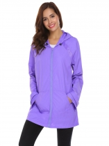 Purple Women Casual Hooded Long Sleeve Zipper Pocket Solid Raincoat Outwear