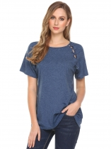 Azul Mulheres O-Neck Criss Cross Short Sleeve Solid Casual Loose T-Shirt Tops