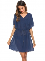 Navy blue Women V-Neck Flare Sleeve Drawstring Pullover Beach Chiffon Bikini Cover Up