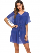 Royal Blue Women V-Neck Flare Sleeve Drawstring Pullover Beach Chiffon Bikini Cover Up