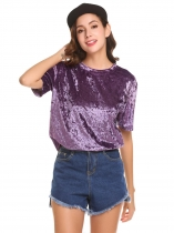 Purple Femmes O cou à manches courtes en velours solide Casual Loose Fit T Shirt