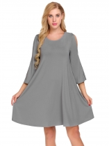 Šedá Women Casual O-Neck Flare Sleeve Cold Shoulder Solid A-Line Loose Dress