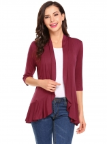 Wine red Women Casual 3/4 Sleeve Solid Ruffled Cardigan