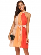 Orange Women Sexy Halter Sleeveless Patchwork Party Chiffon Pleated Dress w/ Belt