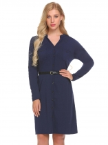 Dark blue Women Fashion V-Neck Long Sleeve Solid Loose Cardigan Dress with Belt