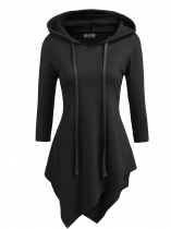 Black Women Hooded V-Neck 3/4 Sleeve Solid Irregular Slim Fit Thin Hoodie with Pocket