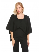 Black Mulheres 3/4 Sleeve Open Front Solid High Low Hem Poncho Cape Cardigan