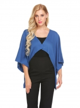 Azul Mulheres 3/4 Sleeve Open Front Solid High Low Hem Poncho Cape Cardigan