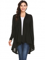 Black Women Front Open Long Sleeve Asymmetrical Hem Solid Loose Cardigan