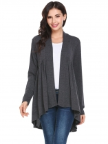 Gray Women Front Open Long Sleeve Asymmetrical Hem Solid Loose Cardigan