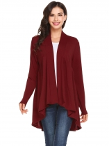 Wine red Women Front Open Long Sleeve Asymmetrical Hem Solid Loose Cardigan