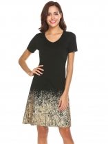 Black V-Neck Short Sleeve Gold Foil Slim Fit Casual A-Line Dress