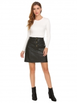 Black Women Fashion Pull-On PU Leather A-Line Skirt