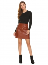 Dark brown Women Fashion Pull-On PU Leather A-Line Skirt