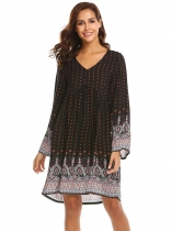 Orange Vintage Women's Bohemian Printed Ethnic Style Loose Casual Tunic Dress
